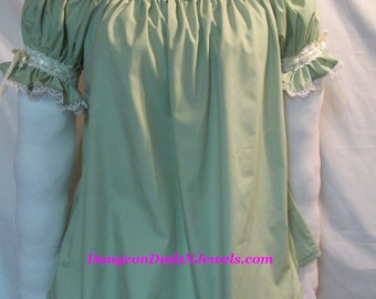 DDNJ NEW Ready to Ship Sage Cream OFF Shoulder Ruffle Venetian Cuff Chemise Renaissance Vampire Goth Gypsy Pirate Wench Costume Medieval