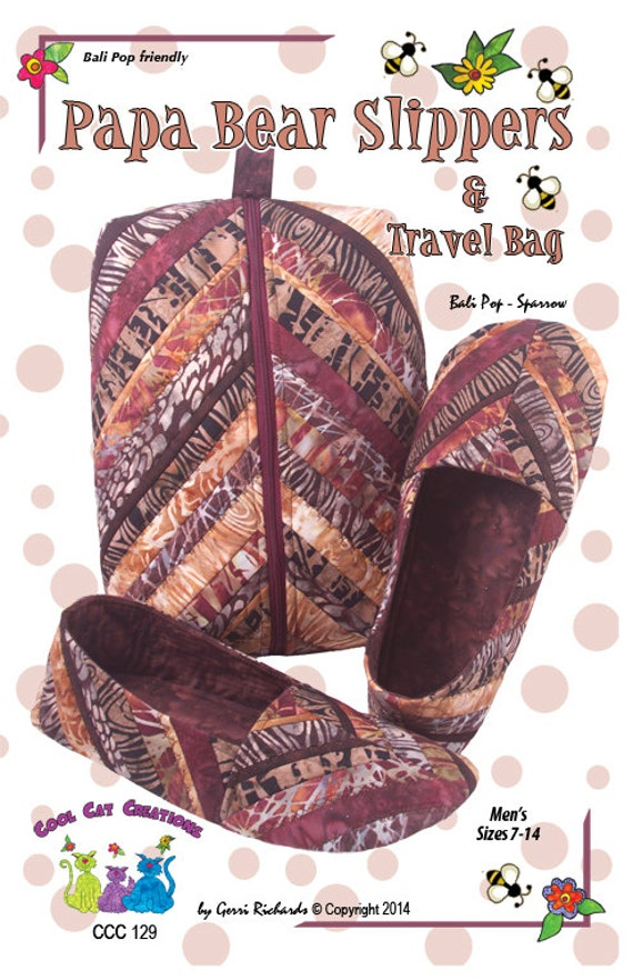 Papa Bear Slippers Travel Case Pattern Quilted Slippers And