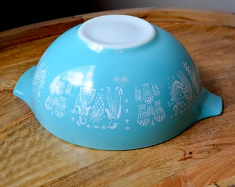 Pyrex Turquoise Butterprint 444 Cinderella bowl, Mid Century Kitchen, Amish Blue Handles, Rockabilly