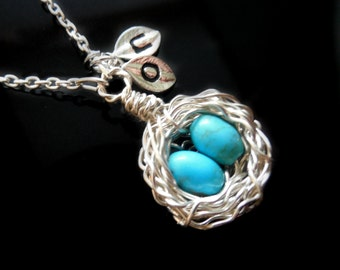 Bird Nest Necklace with Two 2 eggs and intitial charms