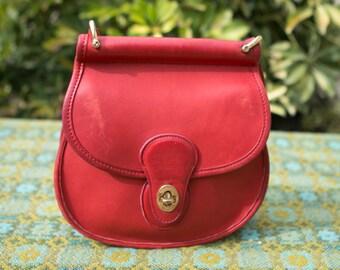 RARE Vintage Coach Red Post Pouch Round Murphy Mini Willis Winnie Leather Purse Crossbody