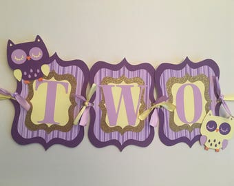 Owl highchair banner, owl birthday party, owl decorations!