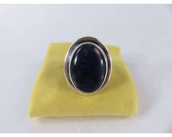 Vintage dark lapis sterling silver ring