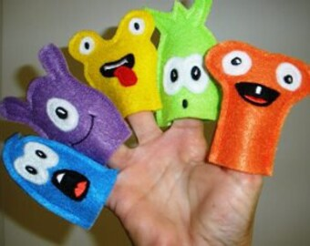 Monster Finger Puppet Set In the Hoop Embroidery