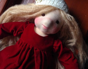 Waldorf doll, therapy doll, soft baby doll, natural rag doll, Waldorf inspired doll, gift for girl, steiner doll, felt sculptured doll