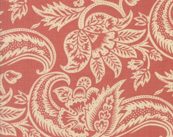 Moda Fabrics-French general floral reproduction pink-Madame Rouge Terre Rose