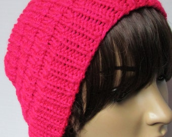 Pink Knit and Rib Knit Beanie