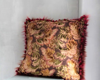 Large Square Cushion 55 x 55 cm Upholstery Fabric and Fur, Upholstery, Bohemian Chic Pillow, COUS171310