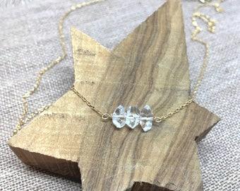 Diamond Necklace, Herkimer Diamond, Gold Diamond, April Birthstone, 14k Gold Filled, Sterling Silver, Crystal Necklace, Delicate Necklace