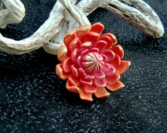 Ombre orange dahlia with raspberry flower (No. 1 set)