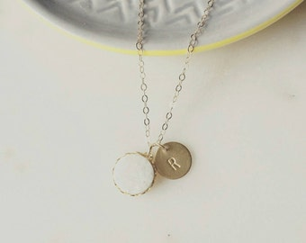 Tiny druzy pendant necklace with personalized disc on gold filled chain, modern personalized jewelry