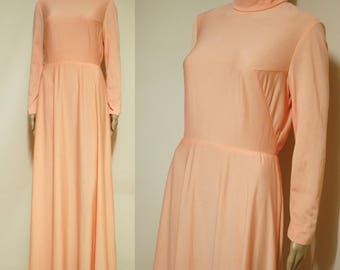 70s Pastel Coral Pink Dress Long Length Vintage Retro Hippie TurtleneckLong Sleeve Vtg Gown 1970s Size S Small