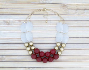 Red and Gold Beaded Necklace, Color Block Big Bold Chunky Layering 2-Strand Bib Collar Artisan Necklace, Multi Layer Gold Statement Jewelry