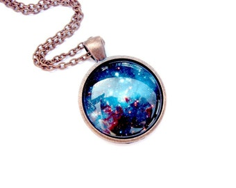 Space Sparkle Necklace : Glass Art Jewelry Picture Pendant Photo Pendant Handcrafted Jewelry s (1631)