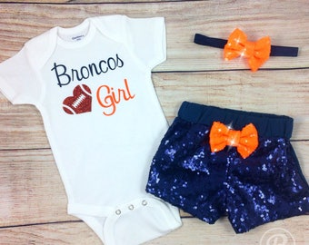 Denver Broncos Baby Girl Game Day Outfit, Broncos Baby Girl Outfit, Broncos Bodysuit