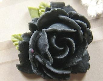 2 pcs 34mm Black Rose Cabochon -(CA815-C6)