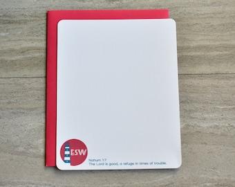 Personalized Christian Stationery Set | Flat Note Cards |  Scripture Stationery | Monogram Seaside Lighthouse Red | Set of 12+Envelopes
