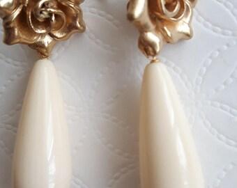 Ivory drop earrings, rose earrings, pendant earrings