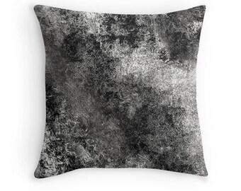 Black White Pillow, Black White Toss Pillow, Black Pillow, Black Gray Pillow, Black White Decor, Black Abstract Toss Pillow, Black White