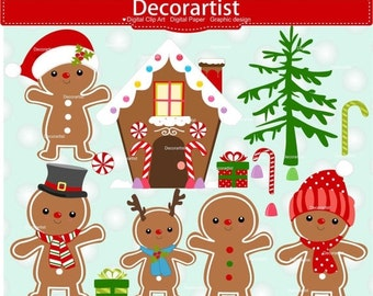ON SALE Christmas gingerbread clipart, gingerbread clipart, gingerbread house clipart, Christmas clipart, instant download