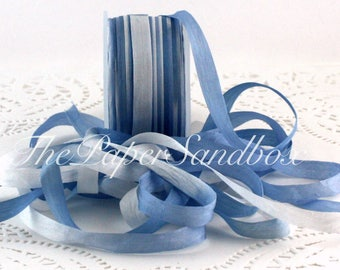 "Hand Dyed Silk, Blue & White, Tie Dyed Silk, Silk Ribbon, 1/4"" wide by the yard"