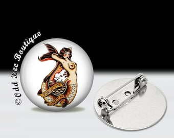 """Mermaid Pinup Pin - Sailor Jerry Old School Tattoo Brooch - Retro Nautical Accessory - Traditional Tattoo Rockabilly Gift - 1"""" Glass Pin"""