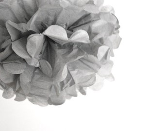 paper pom pom: grey tissue paper pom pom party decor, nursery decor, cake smash