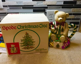 SPODE Christmas Tree Hand Painted Teddy Bear Teapot In Original Box Minty and Cute!