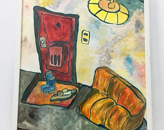 Front door of my house / Hand Painted Original Acrylic Painting on paper