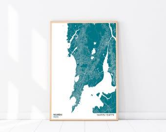 Mumbai Map Print, Custom Map Print, Street Map, Choose Your Own City, Wall Art, Map Wall Art, City Map Print, Mumbai City Map Poster