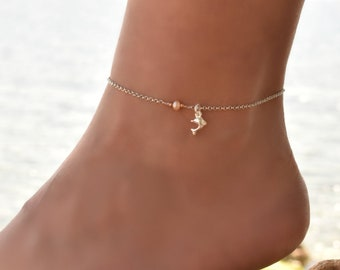 Pearl Anklet Bracelet, Anklet, Beaded Anklet, Sterling Silver Anklet Bracelet, Delicate Anklet Bracelet, Ankle Jewelry, Ankle Chain Charm
