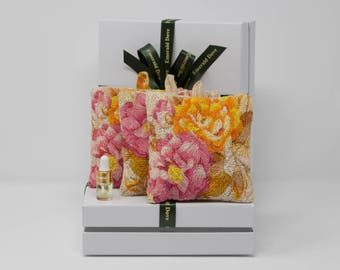 Luxury Indian Rose Scented Sachet Gift Box, Orange & Pink  Rose Fragrance  Wardrobe Sachets