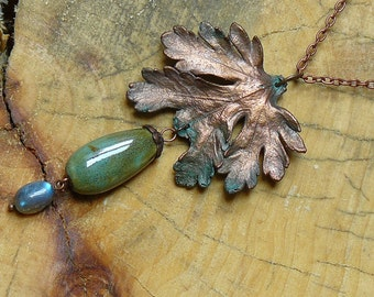 Long necklace from real chrysanthemum leaf,electroformed leaves,botanical jewelry,copper electroform,metal leaf,electroforming,elven jewelry