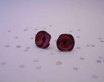 Copper enamel, black and red earrings, Poppy collection