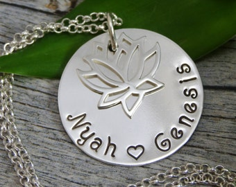 Hand Stamped Jewelry - Personalized Jewelry - Mother Necklace - Sterling Silver Necklace - Two or three names - Lotus Flower Charm