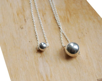 Sterling silver ball necklace, birthday gift for her, everyday necklace, christmas gift, boho jewelry, minimalist necklace, moon phases