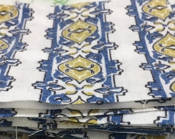 Lot of 85 Vintage Blue And White Cotton 3 inch Quilt Squares