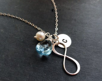 Infinity necklace, Silver initial & birthstone necklace, mothers necklace, friendship necklace, aquamarine