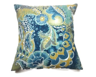 Decorative Pillow Cover Bold  Paisley Design Navy Teal Turquoise Olive White Same Fabric Front/Back Throw Toss Accent 18x18 inch x