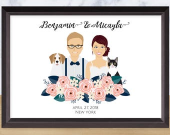 Illustrated Couple Portrait, Custom Drawing, Personalized Illustration, Wall Art, Unique Anniversary Gift, Digital File, Printable