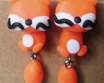 Earrings dangling Fox orange
