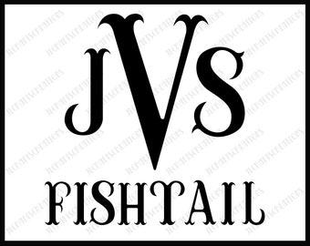 FishTail Alphabet svg, Fish Tail Monogram Svg, FishTail Monogram Font, Monogram Alphabet, Cricut Svg, Silhouette Cut Files, Cut Files