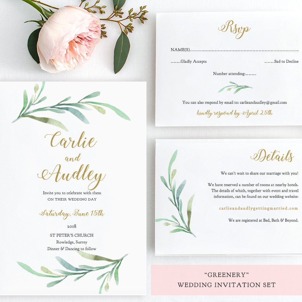 Greenery Wedding Invitation Set Templates Printable Wedding - Wedding invitation set templates
