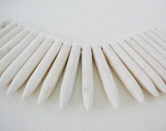 Cream Howlite Beads, Spike Stick Beads, mini strand jewelry supplies beading supply