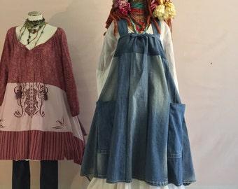 M-1XL Denim Jumper -Recycled Fabric -Up Cycled Sleeveless Jumper -Mori Girl Dress-Raggandbone -Size: Made To Order