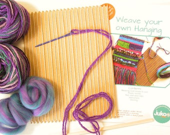 Weave a Wall Hanging in Purple and Teal Colours, Weaving Kit