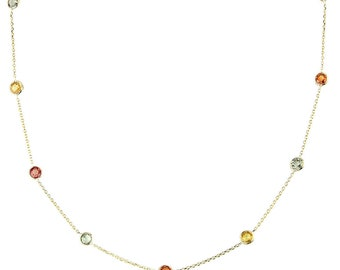14K Yellow Gold Handmade Station Necklace With Station Gemstones By The Yard (16, 17, 18, and 20 Inches)