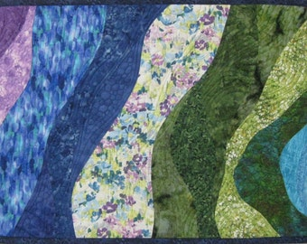 Art Quilt Gardens and Ponds 2, Wall Quilt, Quilted Wall Hanging, Landscape quilt