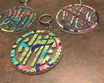 """Monogram/Personalized Acrylic 3"""" Keychain with Lilly Pulitzer inspired patterns or solid colors"""