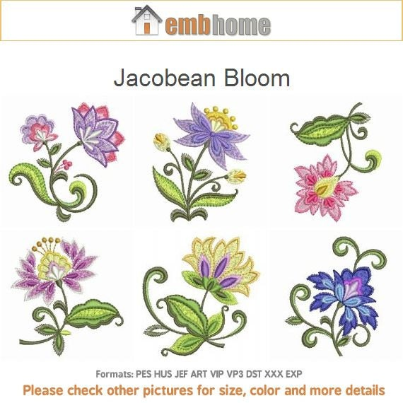 Jacobean bloom flowers machine embroidery designs pack for Embroidery office design version 9